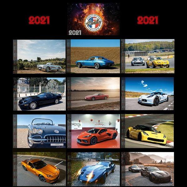 Plaquette Calendrier 2021 Club Corvette Family France